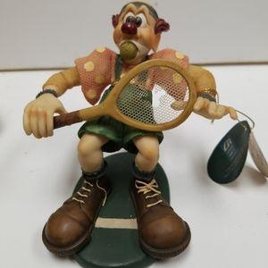 Vintage Slapstix Ceramic clown playing tennis 1997